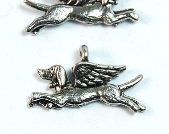 Dog Angel Silver Pewter Dog Charm -1