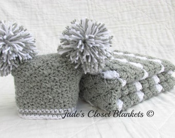 Baby Gift Set, Crochet Baby Travel Blanket and Hat Gift Set, Gray and White, Grey and White, Neutral
