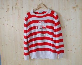 Striped Nautical Sweater VINTAGE 80's red white sweater with boat applique