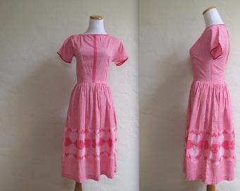 Vintage 1950s Gingham Dress w Needlepoint Embroidered Hem