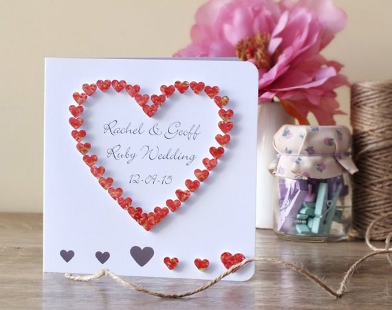 Homemade 40th Wedding Anniversary Gift Ideas : Handmade 3D 40th Ruby Wedding Anniversary Card, 40th Anniversary Card ...