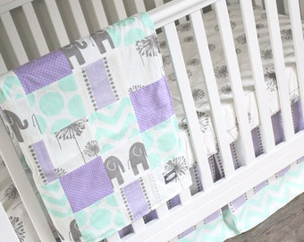 Girl Crib Bedding - Purple, Mint and Grey, Baby Girl Bedding
