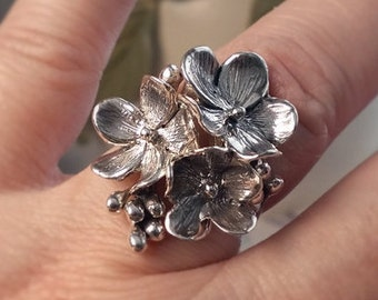 Beautiful Statement Sterling Silver Flower Ring- Forget-me-Not floral Ring, Floral Ring, Silver Flower Ring