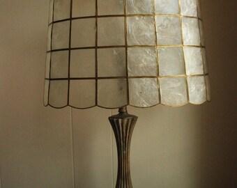 Vintage Handmade Capiz Shell Lampshade- Gold paint Large