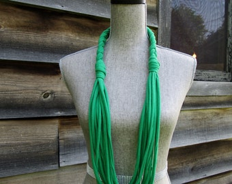 Green Braided Fabric Necklace