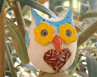 Terrarium Owl figurine - Small white, blue and red with heart ceramic ornament
