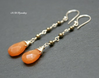 Red Aventurine Pyrite Sterling Silver Wire Wrapped Long Earrings