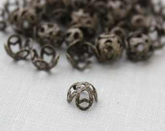 100 pc 8mm Antique Bronze Filigree Bead Caps