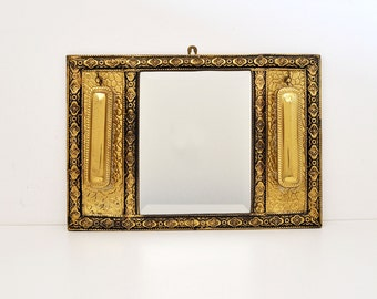 Vintage Brass Mirror and Brush Wall Valet