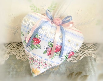 Heart Pillow 6 X 6 Door Hanger, Floral & Berries Print, Decor, Prim Primitive Cloth Handmade CharlotteStyle Decorative Folk Art
