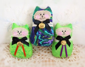 Neon Green Halloween CAT Ornaments Set of 3 Kitty onaments, Autumn Fall Ornies Bowl Fillers Primitive Decorations CharlotteStyle Home Decor