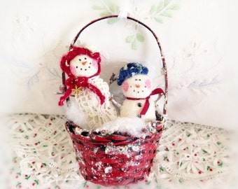 Winter Snowman Christmas Ornament,  Winter Snowman Snow Lady baby Basket Christmas Ornament Handmade CharlotteStyle DecorativeFolk Art
