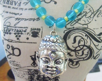 Buddha Necklace Recycled Glass Yoga Bohemian Spiritual