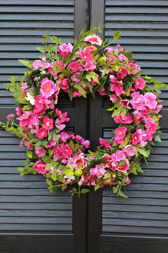 Pink Floral Door Wreath Hot Pink Flower Wreath Spring Summer Door Decor