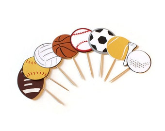 Ball cupcake toppers or party picks - choose your quantity & colors