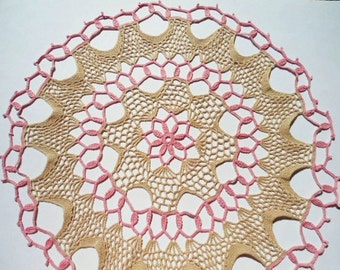 """Large crochet doily, multicolored doily, ecru and pink, lace tablecloth, 21"""""""