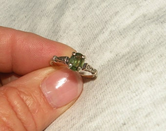 Unheated and Untreated Green Sapphire Ring