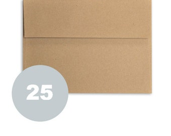 A2 kraft envelopes 25 ct natural brown paper envelopes for wedding stationery invitations with gummed square flap