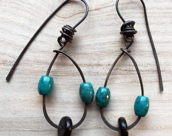 Sale. Boho Teardops- Long Dangle Earrings, Tribal drop earrings, gypsy jewelry, rustic earrings, turquois blue and black beads, small gift