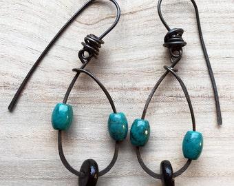 Boho Teardops- Long Dangle Earrings, Tribal drop earrings, gypsy jewelry, rustic earrings, turquois blue and black beads