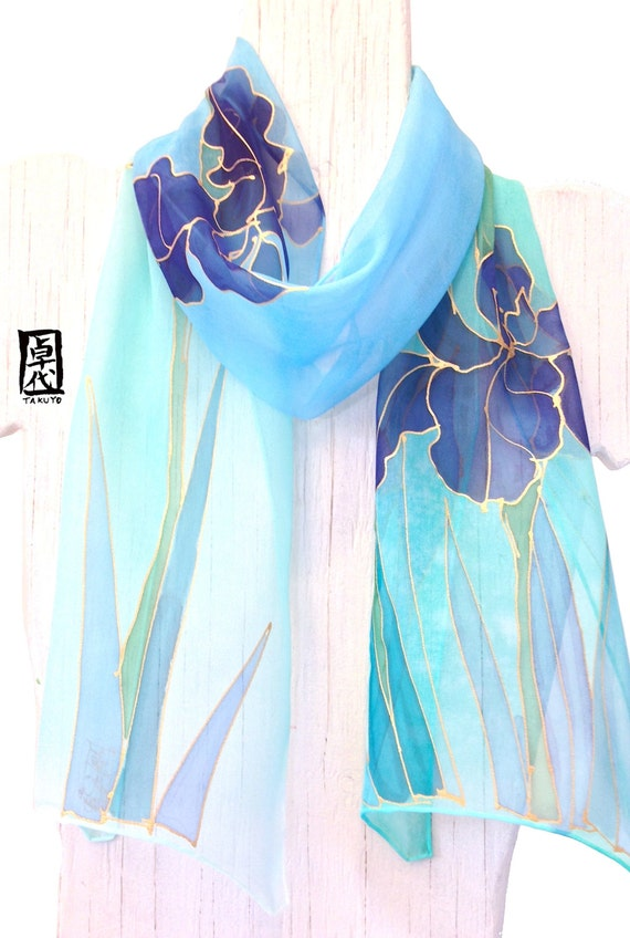 Hand painted silk scarf, Mint Green and Blue Iris Scarf, Japanese Scarf, Blue Silk Scarf, Silk Scarves Takuyo. Silk chiffon. 7.5 x54 inches.