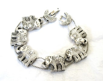 1980's signed Elephant Slide Bracelet, clear rhinestones, antiqued silver, good luck, trunk up, gift idea, Excellent