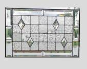 Beveled stained glass panel window geometric clear quilt sampler stained glass window panel modern window hanging abstract suncatcher 0037
