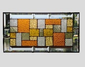 Stained glass panel window hanging amber clear geometric stained glass window panel suncatcher modern stained glass transom 0041
