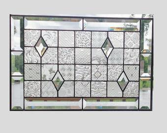 vitrail biseaut panneau fen tre g om trique de courtepointe claire chantillonneur fen tre. Black Bedroom Furniture Sets. Home Design Ideas
