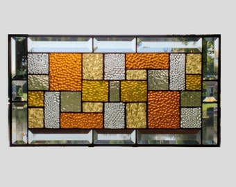 Stained glass panel window hanging amber clear geometric stained glass window panel suncatcher modern 0041 19 1/4 x 10 1/4