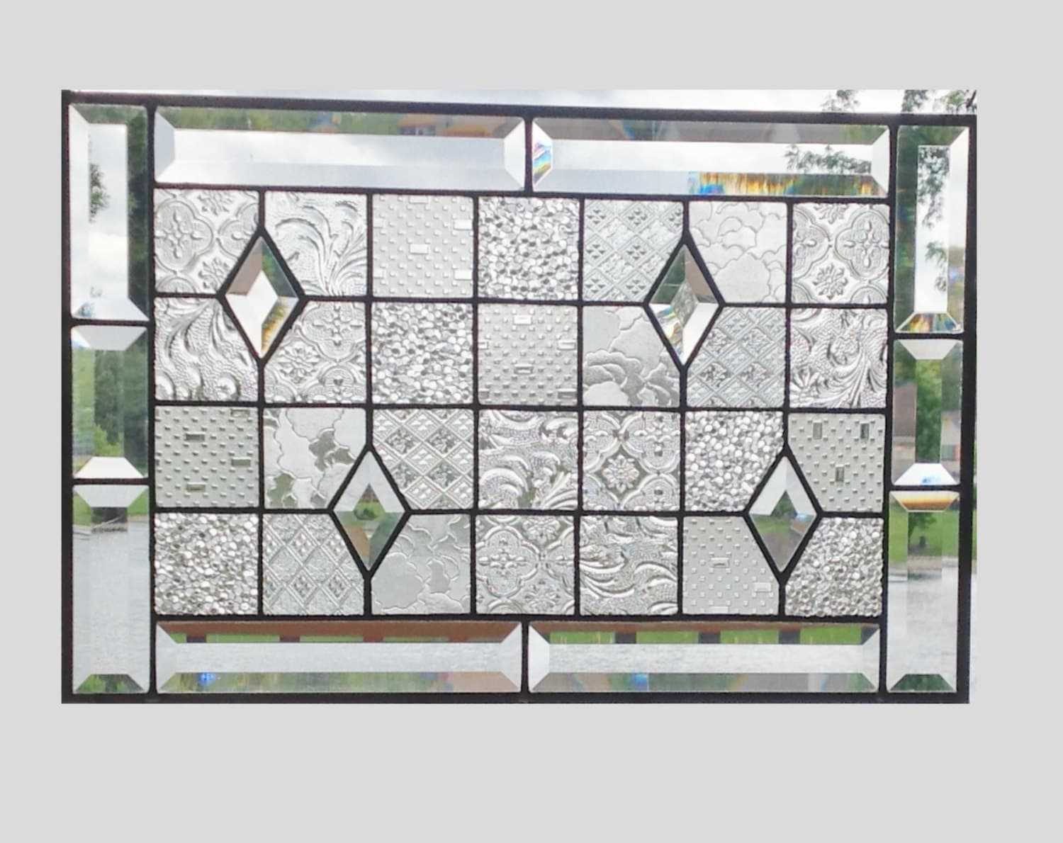 Beveled stained glass panel window geometric clear by SGHovel