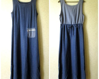 Denim Maxi Dress overall jumper sleeveless sundress mori girl beachwear coverup vintage 80s 90s long jean jumper women large Denim and Co