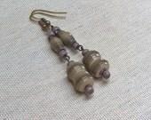 Shades of grey paper bead earrings ~ dark grey to brown ~ Paper Bead Jewelry