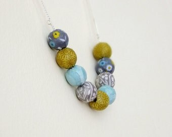 Mustard, blue and grey, fabric covered bead necklace