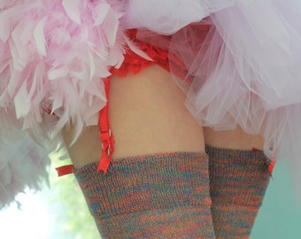 Thigh High stockings - Victorian Steampunk Edwardian OVER THE KNEE -  jewel rainbow tropical - crispy cotton - multi coloured