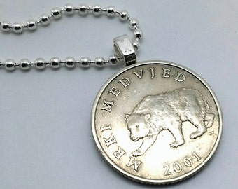 COIN NECKLACE - Bear Necklace - Brown Bear - Croatia 5 kuna coin pendant - man necklace - bear jewelry - brown bear pendant - grizzly bear
