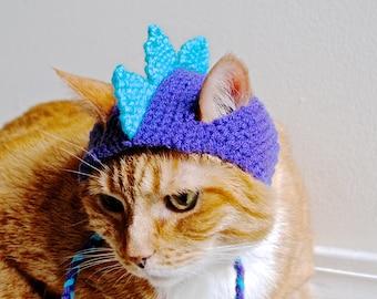Dinosaur Cat Costume - Teal and Purple - Hand Knit Cat Hat - Cat Halloween Costume