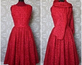 Vintage 1950's Red and Pink Sundress with Pleated Waist and Matching Scarf S/M