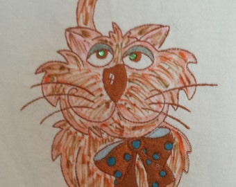 Embroidered Red Tabby  SIZE: LARGE