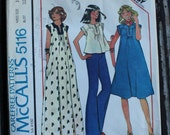 McCall 5116 1970s 70s Full gathered Dress Tunic or Top Vintage Sewing Pattern Size 10 Bust 32.5