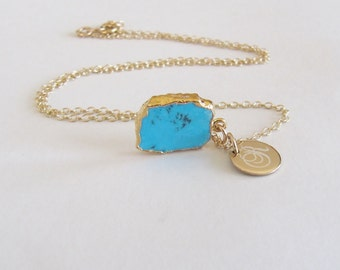 Turquoise Howlite Necklace, Gold Leaf Slice Pendant, Initial Pendant, Personalized, Tiny Pendant Necklace,December Birthstone,Something Blue