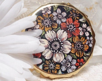 Japan Powder Compact Floral Design Unused