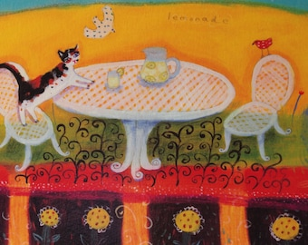 Lemonade Cat and Rabbit - Limited Edition Giclee on Paper/Whimsical Animal Art
