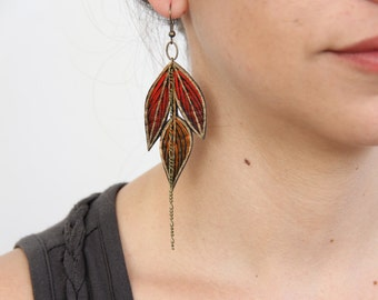 Fall Red Leaf Earrings, Faux Leather Earrings, Burnt Orange Leaves, Hand Painted, Gifts for Her