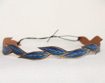 Boho Headband, Royal Blue Leaf Headband, Gifts for Her