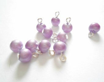 Purple Pastel Opaque Dangle Beads