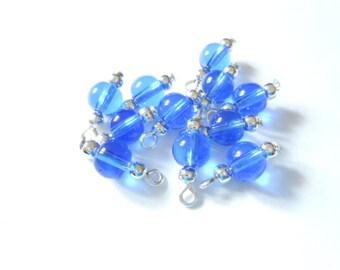 Blue Transparent Druk Dangle beads