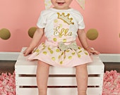 Girls Pink and Gold Birthday Outfit - Pink and gold first birthday outfit - 1st Birthday outfit - Pink and gold outfit - 2nd birthday outfit