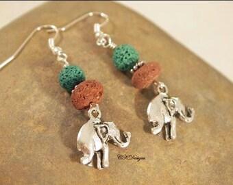 Elephant Lava Rock Earrings, Natural Red and Green Lava Rock Beads, Beaded Pierced Earrings. OOAK Handmade Earrings. CKDesaigns.US