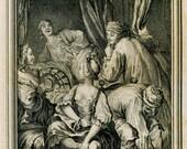 Antique Print Eisen Rococo Illustration La Fontaine's  Contes et Nouvelles,  Sensual Art Inspired by Boccaccio